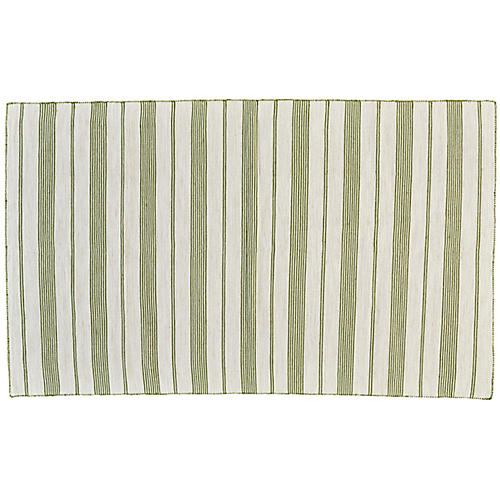 Gilford Outdoor Rug, Green/White