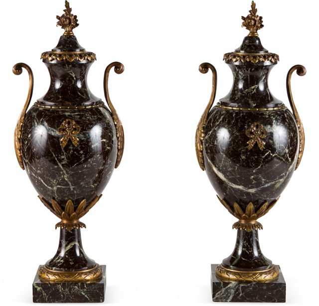 French Marble Urns, Pair