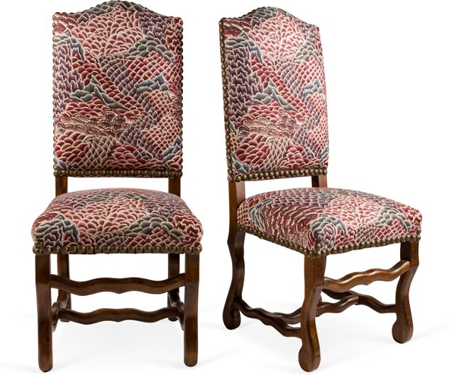 Louis XIII-Style Dining Chairs, Pair