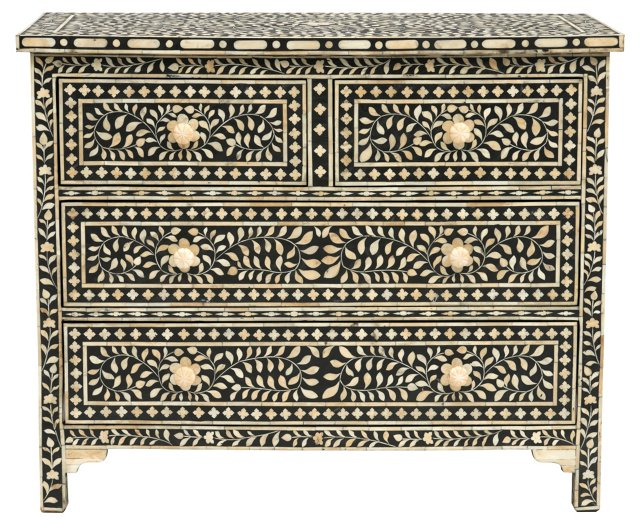 Bone Inlay Chest, Black/Ivory