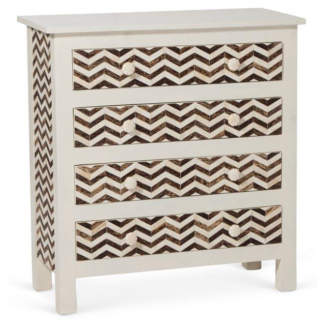 Chevron Bone Dresser, Ivory/Brown