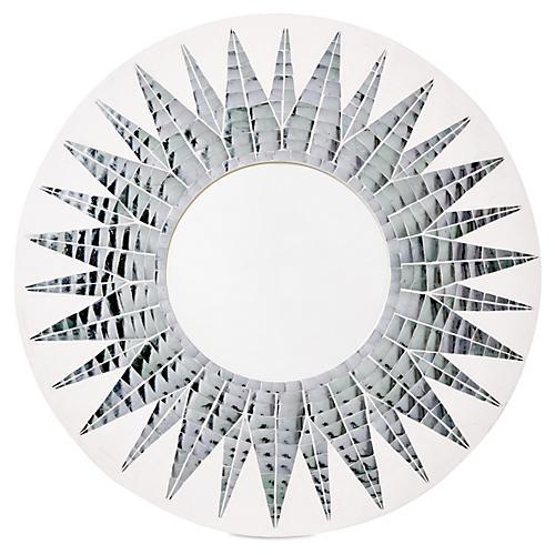 Mosaic Round Mirror, White/Silver