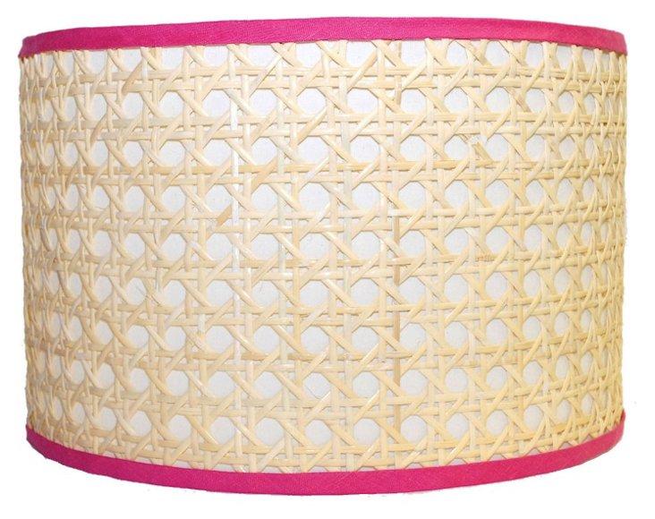 Cane Drum Shade, Pink Trim