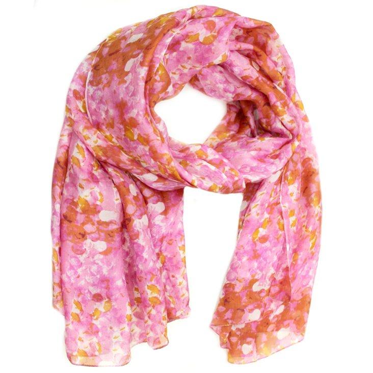 Lucinda Floral Circle Scarf, Pink/Multi