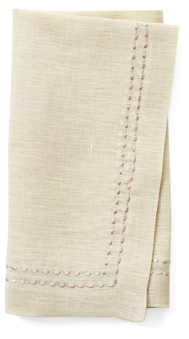 S/4 Rice Stitch Napkins, Beige