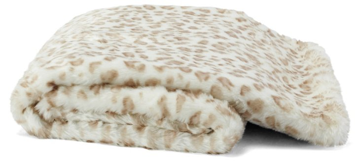 Snow Leopard Throw, White/Beige