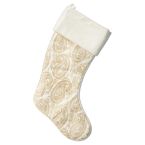 "21"" Costello Stocking, Gold/Ivory"