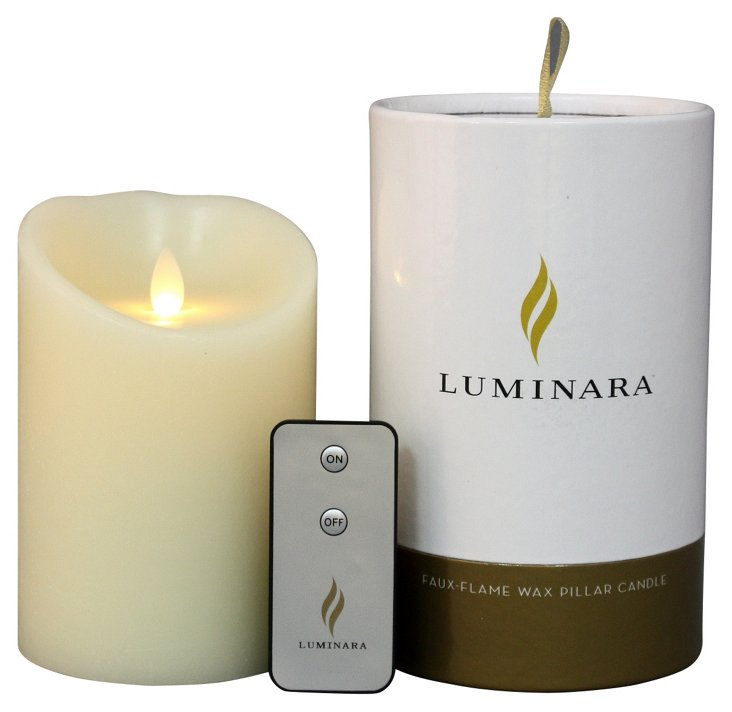 """5"""" Flameless Candle w/ Remote, Ivory"""