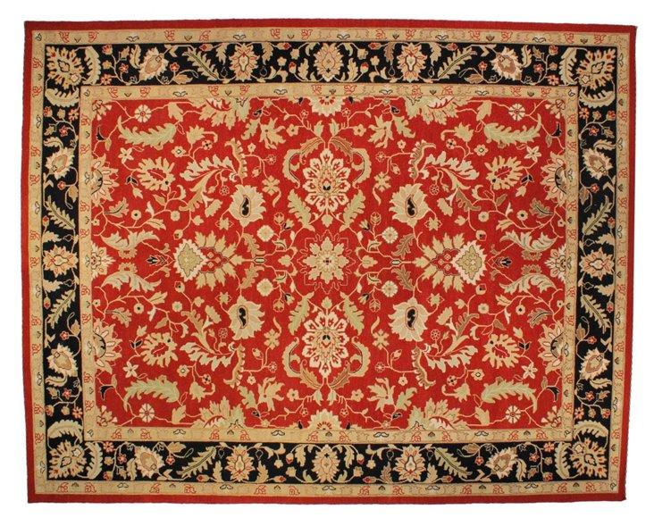 "9'2""x11'11"" Agra Soumak Rug, Red/Black"