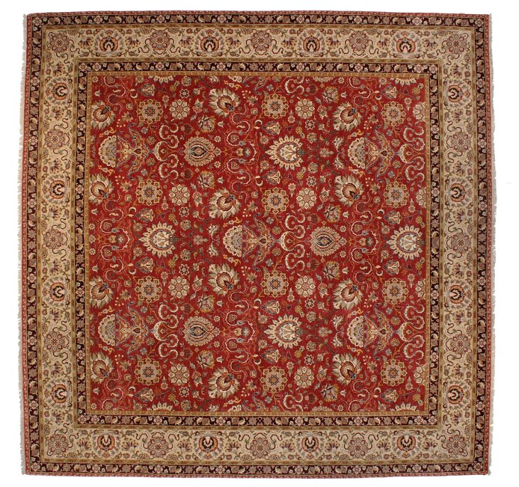 "9'10""x10' Aaron Rug, Red/Ivory"