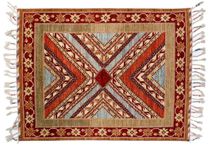 "4'11""x6'8"" Tribal Morocco Rug, Red/Multi"