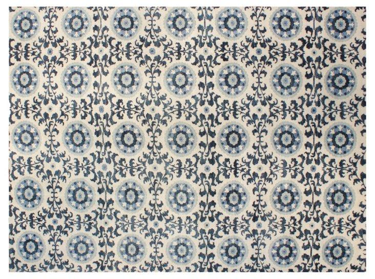 """9'1""""x11'10"""" Madison Rug, Ivory/Blue"""