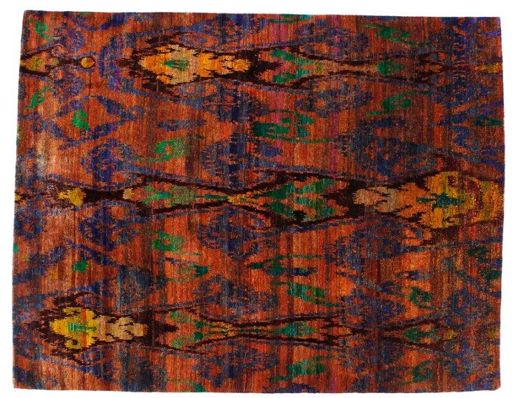 """7'5""""x9'9"""" Sari Silk Rug, Tangerine/Multi"""