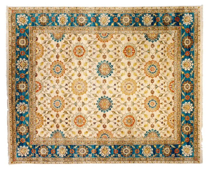 "8'2"" x 10' Ayaan Rug, Ivory/Sapphire"