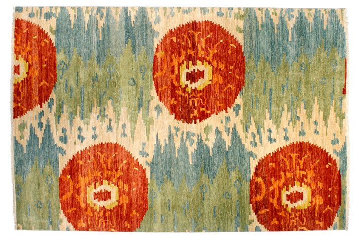 "8' x 9'11"" Ikat Rug, Red/Multi"