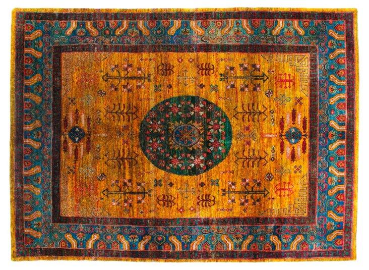 """8'1""""x11'3"""" Sari Silk Khotan Rug, Saffron"""
