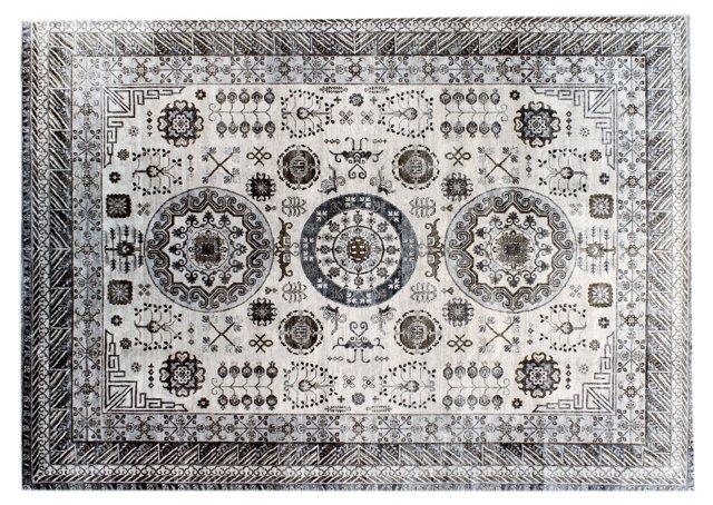 """8'11"""" x 12'3"""" Khotan Rug, Ivory/Gray"""