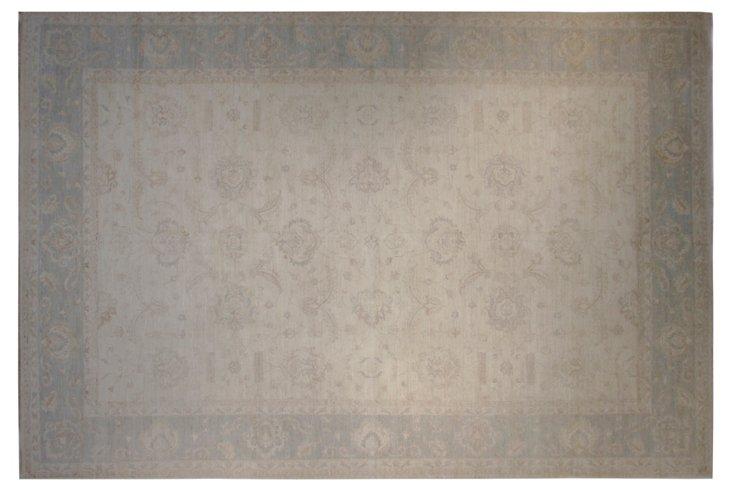 "12'x17'9"" Peshawar Rug, Ivory/Light Aqua"