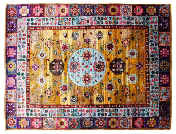 "9'1""x12' Sari Silk Khotan Rug, Multi"