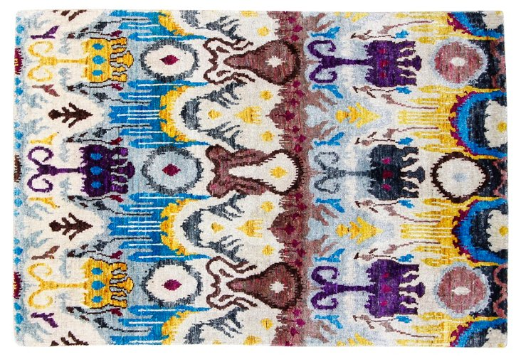 4'x6' Sari Silk Tremiti Rug, Ivory/Multi
