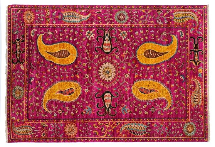 Sari Wool Suzani Rug, Fuchsia