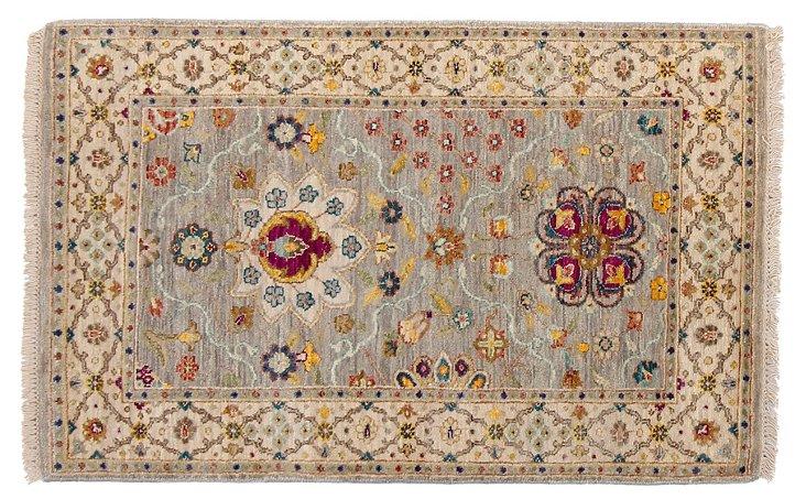 "2'7""x4"" Sari Wool Dabir Rug, Gray/Ivory"