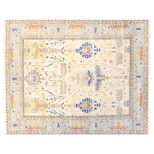 Sari Maya Wool Rug, Ivory/Light Blue
