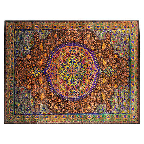 8'x10' Sari Costa Hand-Knotted Rug, Orange