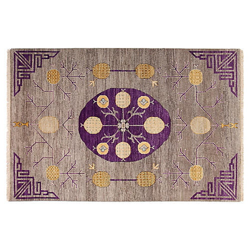 4'x6' Sari Khotan Rug, Gray/Purple