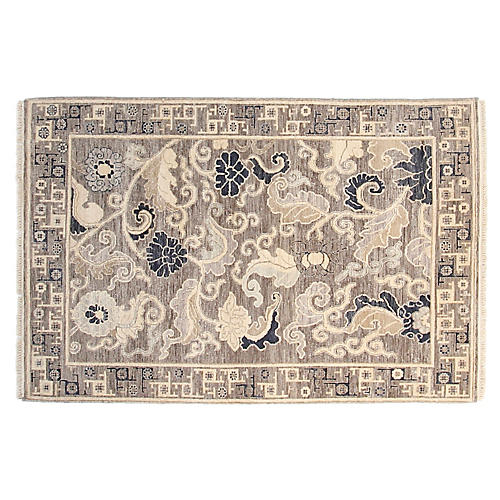 4'x6' Hampton Hand-Knotted Rug, Gray/Navy