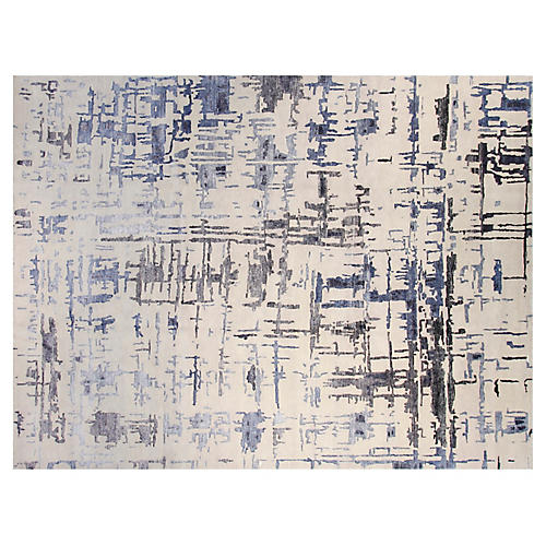 9'x12' Diamond Hand-Knotted Rug, Blue/Black