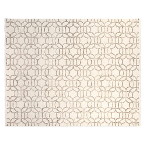 8'x10' Jamie Hand-Knotted Rug, Ivory/Gray