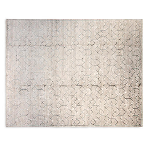 9'x12' Mason Hand-Knotted Rug, Silver