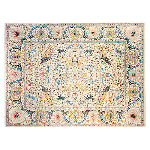 9'x12' Sari Emma Hand-Knotted Rug, Ivory