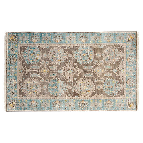3'x5' Oushak Hand-Knotted Rug, Gray/Aqua