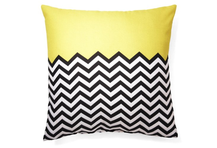 Block Chevron 20x20 Pillow, Yellow