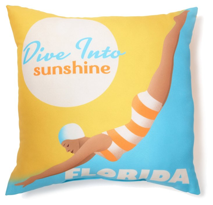 Dive Florida 20x20 Pillow, Yellow