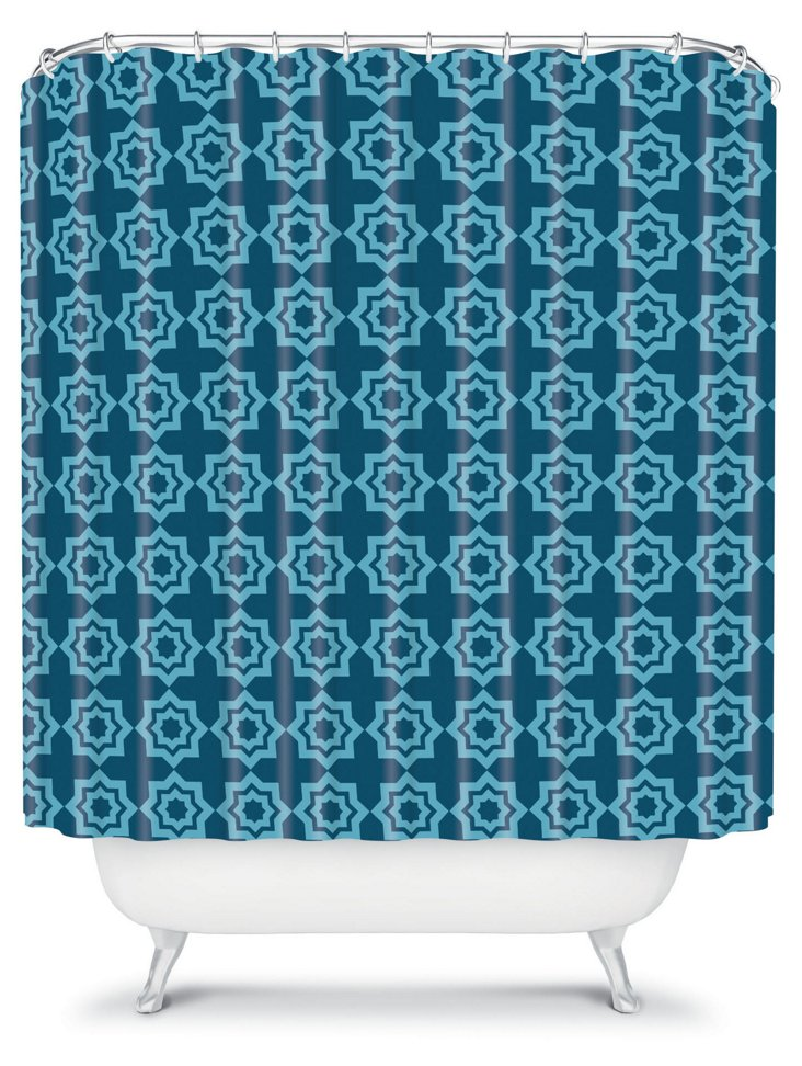 Moroccan Mirage Shower Curtain, Blue