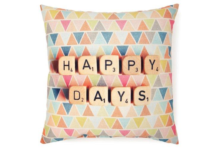 """Happy Days"" 20x20 Pillow, Multi"
