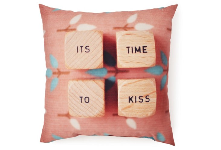 """It's Time To Kiss"" 20x20 Pillow, Multi"