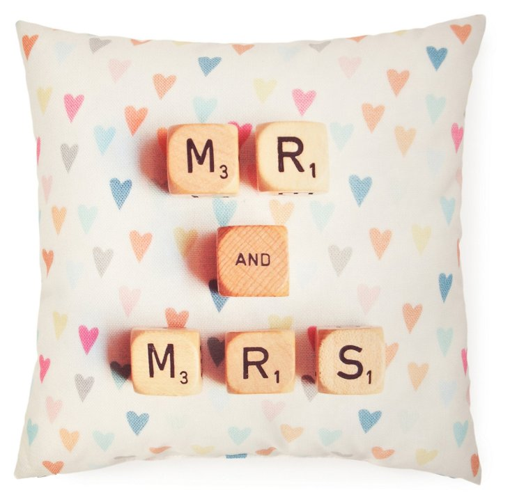 """Mr. and Mrs."" 20x20 Pillow, Multi"