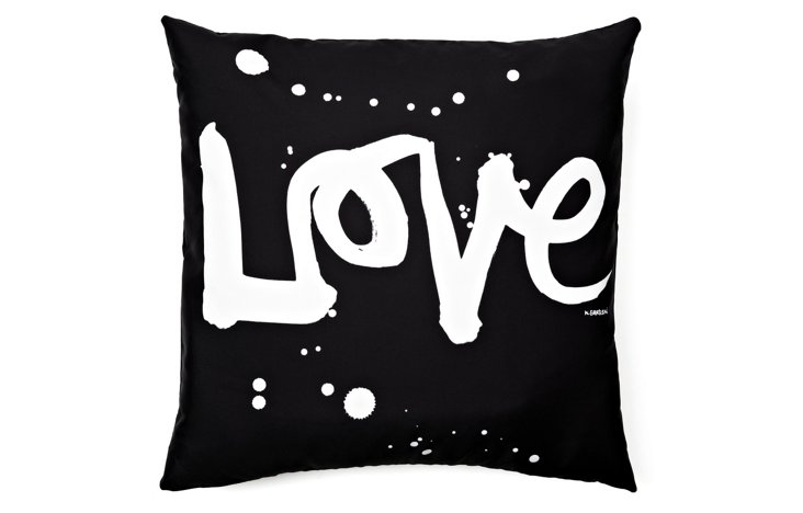 """Love"" 20x20 Pillow, Black"