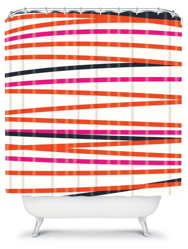 Striped Shower Curtain, Pink