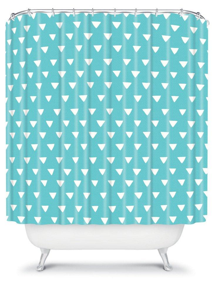Geometric Confetti  Shower Curtain, Teal