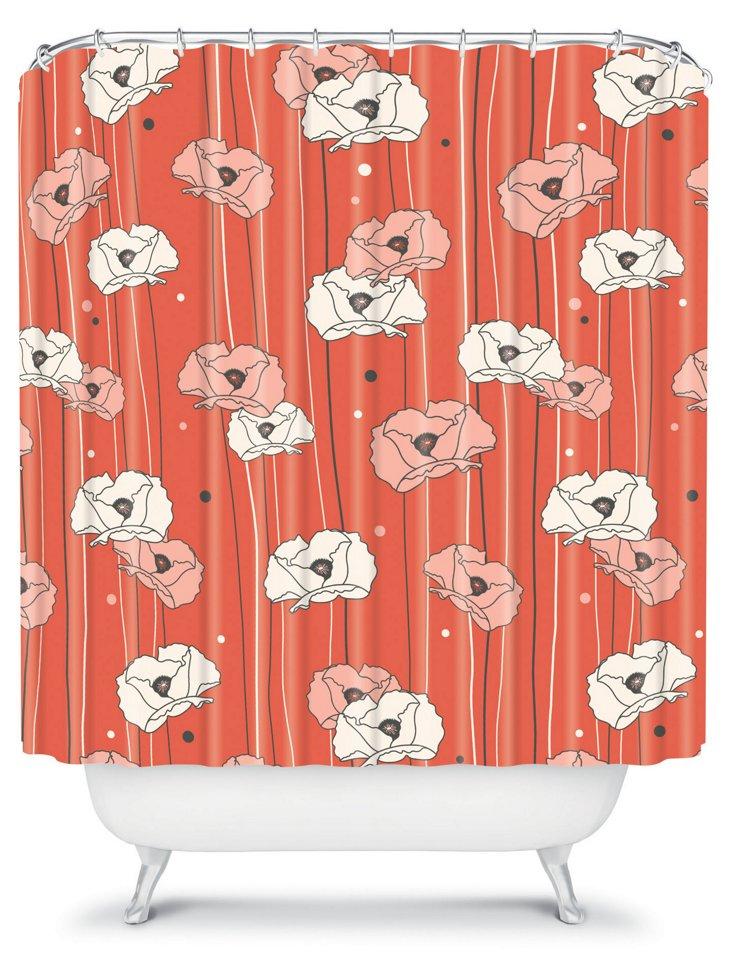 Dutton Poppy Field Shower Curtain, Red