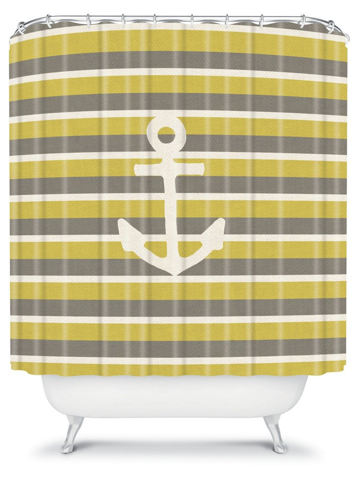 Bianca Green Anchor Shower Curtain, Gr