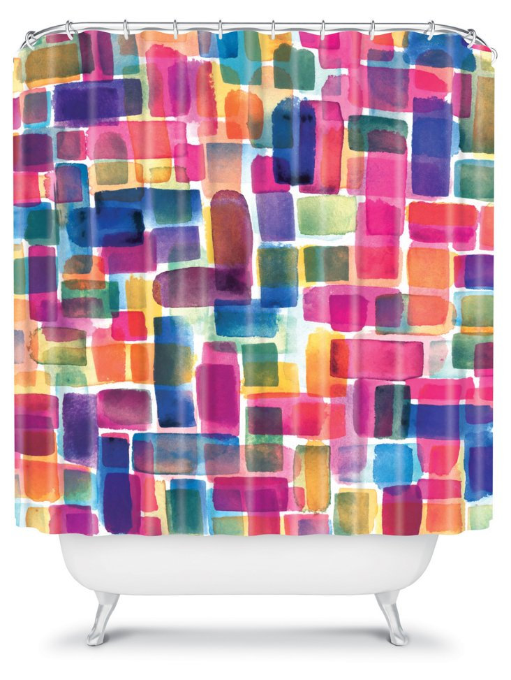 Watercolor Overlay Shower Curtain