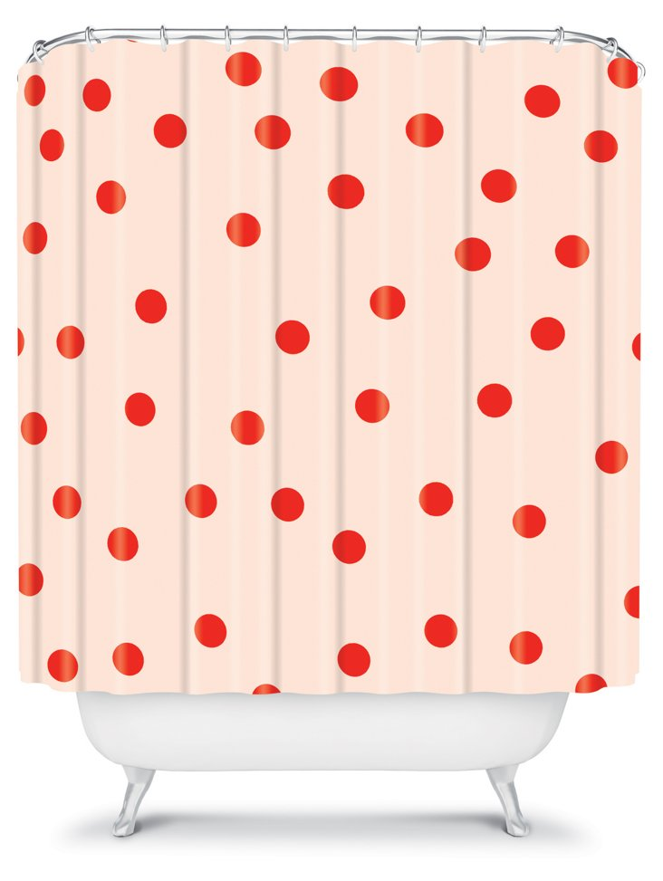 Vintage Dots Shower Curtain, Red