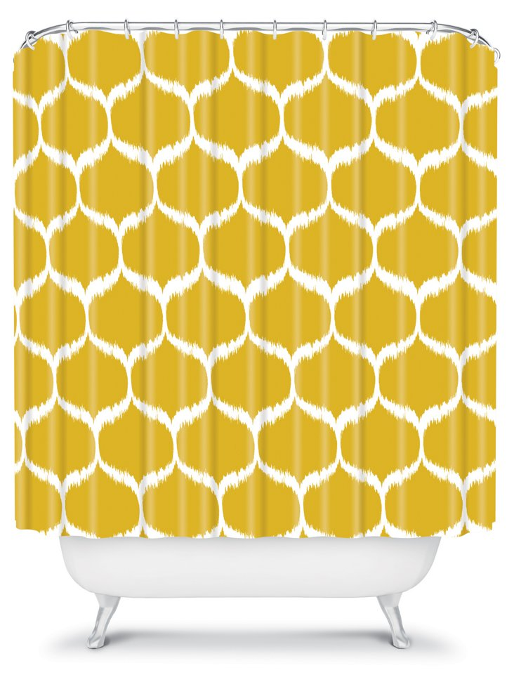 Garden Pattern Shower Curtain, Yellow