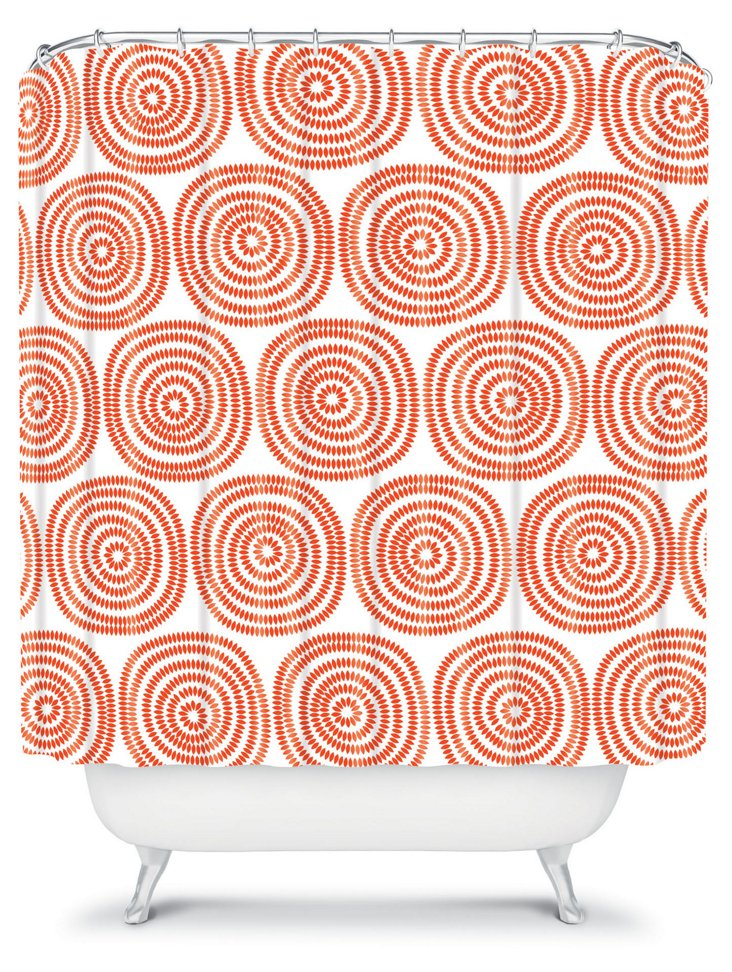 Vienna Swirls Shower Curtain, Orange